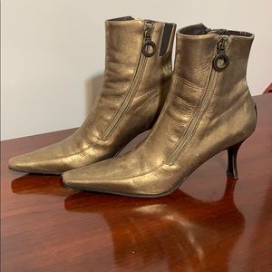 Donald Pliner distressed gold ankle boots 5.5M